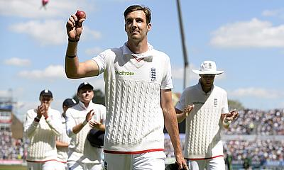 Steven Finn celebrates his five-wicket haul at Edgbaston