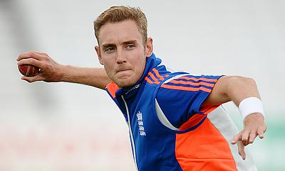 Stuart Broad in action during a training session at Trent Bridge.
