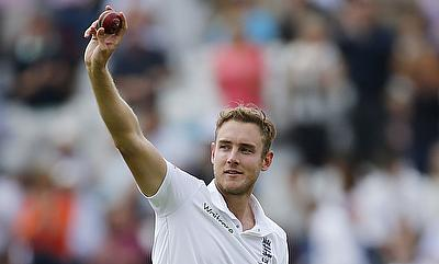 Stuart Broad celebrating his five-wicket haul against Australia on day one of the Trent Bridge Test.