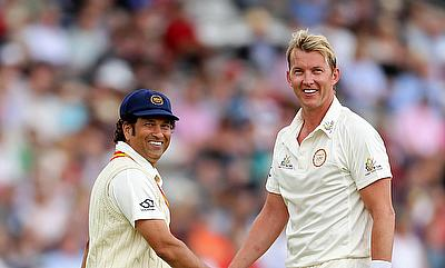 Brett Lee (right), pictured with Sachin Tendulkar