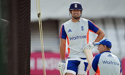 Alastair Cook (left) and Joe Root (right) during a training session at The Oval.