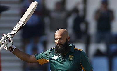 Hashim Amla celebrating his century against New Zealand in the first ODI in Centurion.