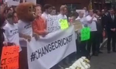 The #changecricket protest was held at The Oval, London