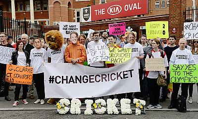 Protesters outside The Oval ahead of the fifth Ashes Test