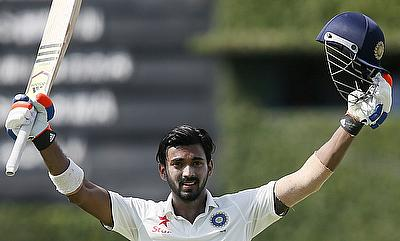 Lokesh Rahul celebrating his century against Sri Lanka on day one of the second Test in Colombo.