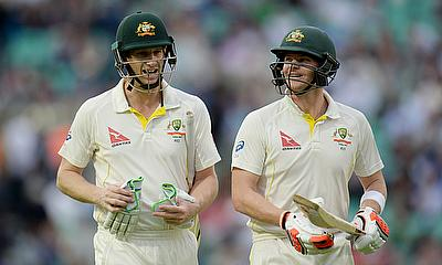 Adam Voges (left) and Steven Smith (right) added an unbeaten 101-run stand for the fourth wicket against England at The Oval.