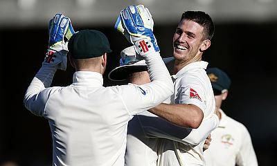 Australia's Mitchell Marsh celebrating the wicket of Ben Stokes on day two of the fifth Ashes Test at The Oval.