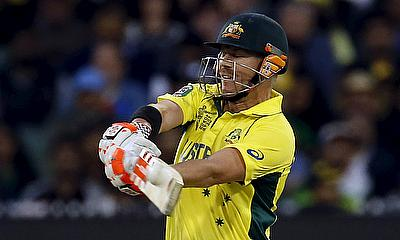 David Warner hits a shot