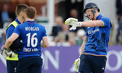 England's Ben Stokes (right) reacts before being given out obstructing the field in the second ODI against Australia at Lord's.