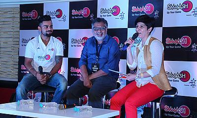 Virat Kohli and Shripal Morakhia, Chief Imagination Officer, Smaaash with Neeti Palta at the launch press conference