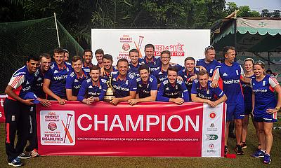 England celebrate winning the International Committee of the Red Cross (ICRC) International T20 Tournament for people with Physical Disabilities