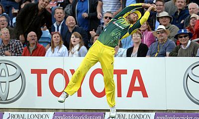 Glenn Maxwell taking a catch at boundary to dismiss England's Liam Plunkett at Headingley.