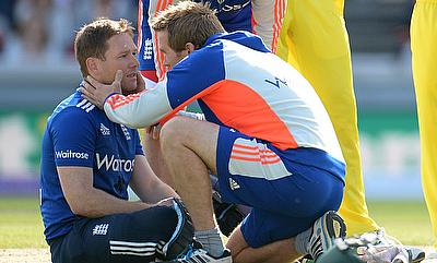 England's Eoin Morgan after being struck by Australia's Mitchell Starc.