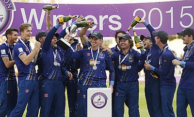 Gloucestershire's Michael Klinger and team mates celebrate with the trophy after winning the final