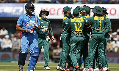 Rohit Sharma is dismissed by South Africa during the 2nd ODI in Indore