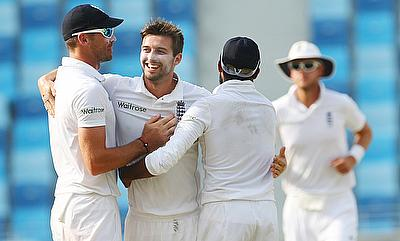 Mark Wood (centre) will miss the third Test against Pakistan in Sharjah.