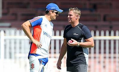 England captain Alastair Cook (left) along with former Australian spinner Shane Warne (right) in Sharjah.