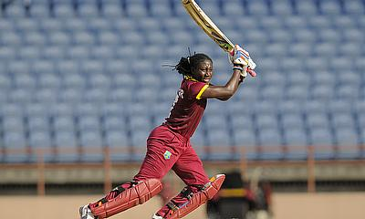Stafanie Taylor hits out during her innings of 48 not out