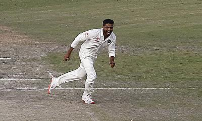 Ravindra Jadeja celebrating the wicket of Faf du Plessis on day one of the first Test in Mohali.