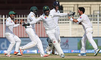 Pakistan celebrate the dismissal of Ben Stokes and a 2-0 Test series victory over England