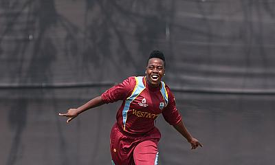 Shanel Daley celebrates a wicket during the 2013 Women's World Cup