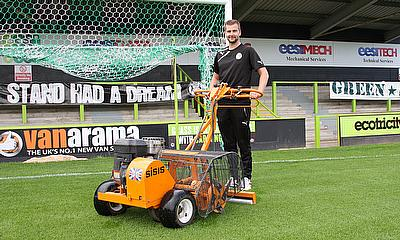 Forest Green Rovers' head groundsman Matt Rainey with the SISIS Autoslit