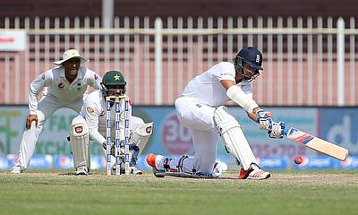 Action from England playing Pakistan