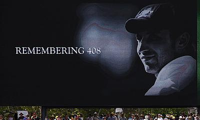 A tribute to Phillip Hughes, who was the 408th player for Australia, was displayed on a screen during the first day of the third Test between Australi