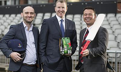 L R: Graeme Nicholson – Heineken Regional Sales Director, Daniel Gidney – Chief Executive of Lancashire County Cricket Club, Warren Hegg – LCCC Busine