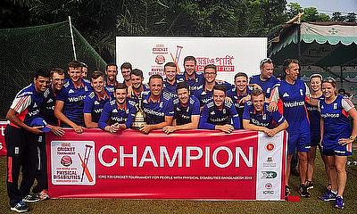 Picture of the England team that won the International Committee of the Red Cross T20 tournament in Bangladesh