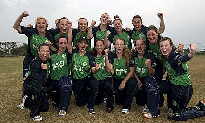Ireland celebrate beating Bangladesh to win the ICC Women's World T20 Qualifier