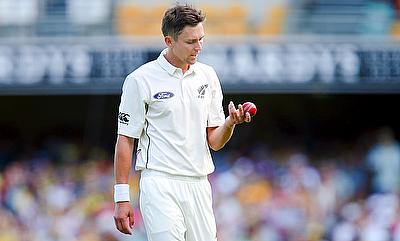 Trent Boult struck twice in the 65th over for New Zealand on day one of the second Test in Hamilton.