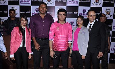 Pooja Jhunjhunwala, Abey Kuruvilla, Sourav Ganguly, Jyoti Saraf at the press conference where Ganguly was unveiled as Libra Legends captain