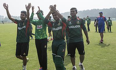 Bangladesh celebrating their win over Namibia.