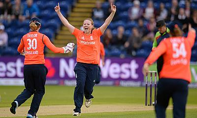 Anya Shrubsole (centre) took four wickets as England dismissed South Africa cheaply