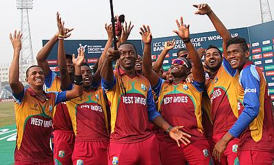 West Indies celebrating their win over Pakistan in the quarter-finals.