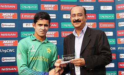 Umair Masood (left) scored 113 for Pakistan in the quarter-finals.