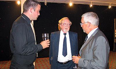 Three Sale captains in conversation at 150th Anniversary Dinner at Old Trafford in 2004, L-R: Matt Millward, Neil Fitton, Glyn Roberts