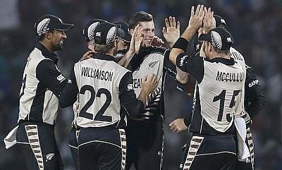 Mitchell Santner (centre) scored an useful 18 runs and picked four wickets as well.