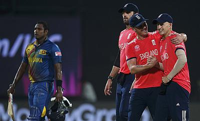 England players celebrate the victory as Angelo Mathews' knock goes in vain.