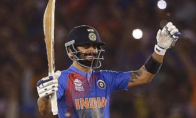 Virat Kohli celebrating the win over Australia in Mohali.