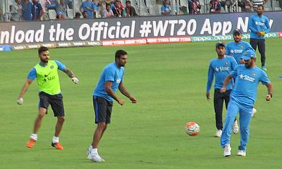 India, pictured here warming up with a game of football