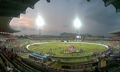 The scene in Kolkata, where West Indies beat England by four wickets