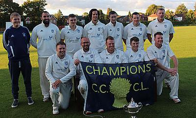 Hyde celebrate their Cheshire Premier League victory last season