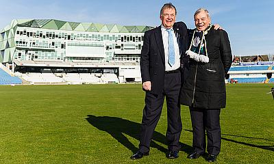 Charles Rowett, Chief Executive Officer at Yorkshire Cancer Research, with Dickie Bird, former YCCC President, at the launch of the partnership
