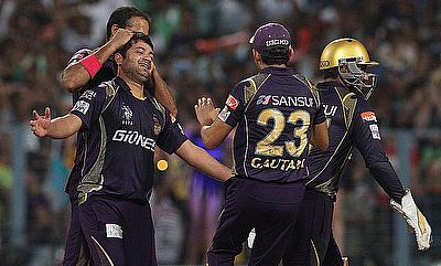 Piyush Chawla (left) picked two key wickets for Kolkata Knight Riders.