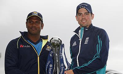 England's Alastair Cook (right) and Angelo Mathews pose with the trophy