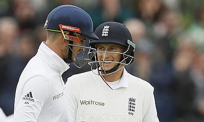 Alex Hales (left) and Joe Root (right) shared a 96-run stand.