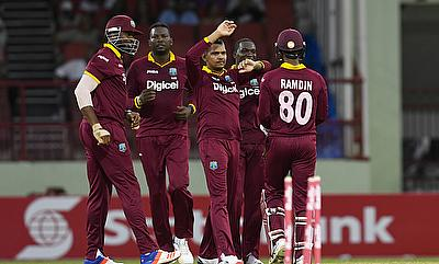 Sunil Narine (centre) was the one of the few positives for West Indies in the game against Australia.