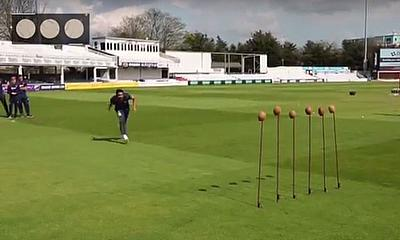 Ravi Bopara takes on the Unibet Coconut Shy challenge